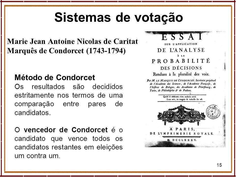 15 Marie Jean Antoine Nicolas de Caritat Marquês de Condorcet (1743-1794) Método de Condorcet Os resultados são decididos estritamente nos termos de u