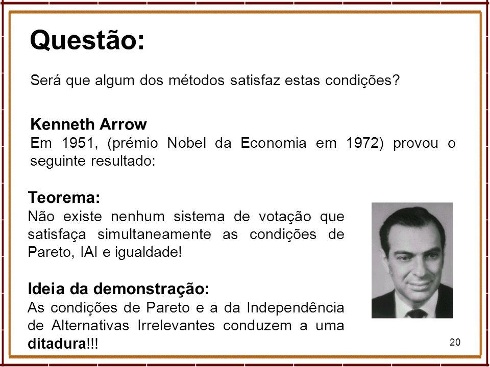 20 Questão: Será que algum dos métodos satisfaz estas condições? Kenneth Arrow Em 1951, (prémio Nobel da Economia em 1972) provou o seguinte resultado