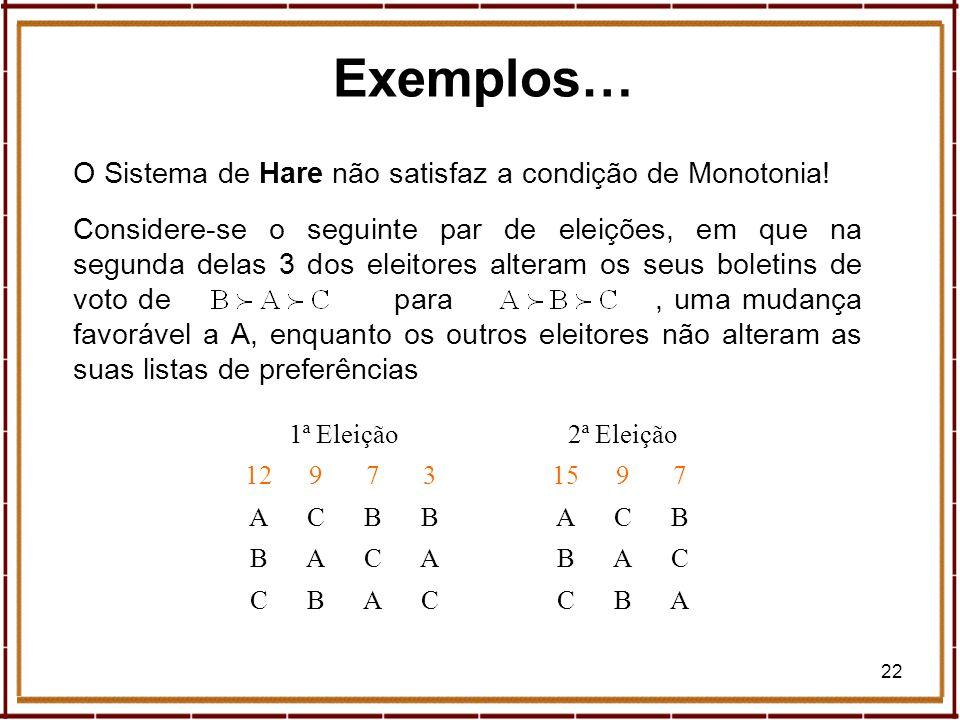 22 Exemplos… O Sistema de Hare não satisfaz a condição de Monotonia! Considere-se o seguinte par de eleições, em que na segunda delas 3 dos eleitores