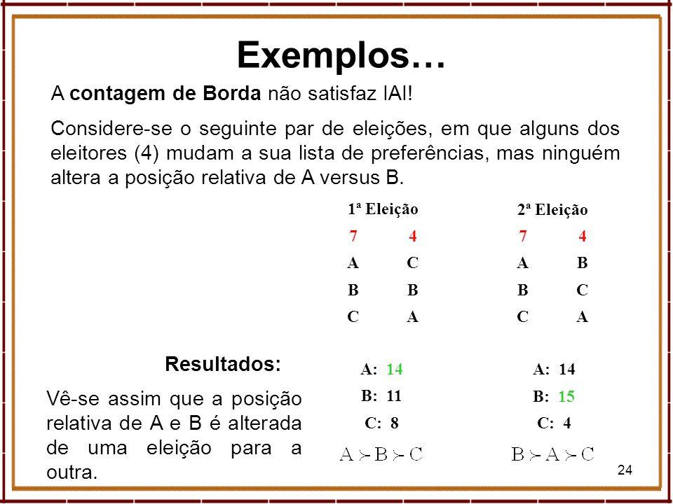 24 Exemplos… A contagem de Borda não satisfaz IAI! Considere-se o seguinte par de eleições, em que alguns dos eleitores (4) mudam a sua lista de prefe