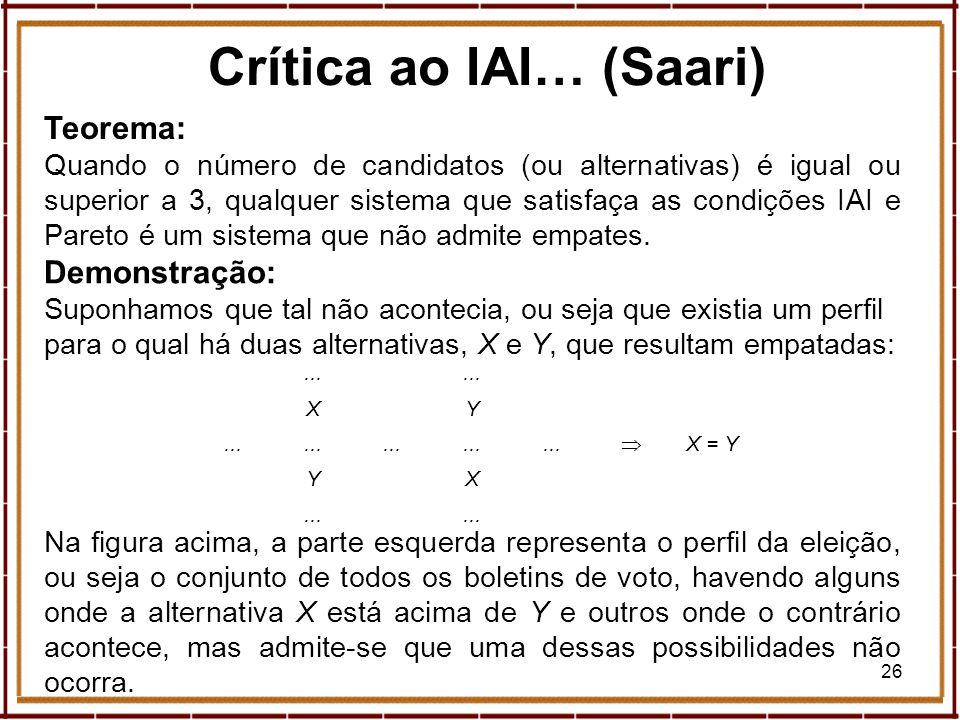 26 Crítica ao IAI… (Saari) Teorema: Quando o número de candidatos (ou alternativas) é igual ou superior a 3, qualquer sistema que satisfaça as condiçõ