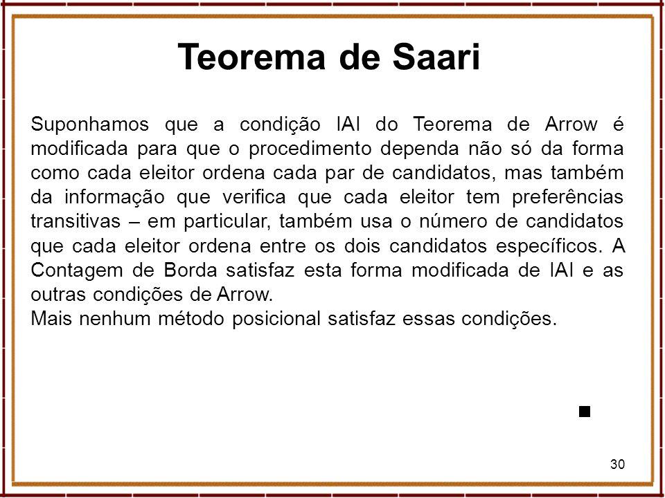 30 Teorema de Saari Suponhamos que a condição IAI do Teorema de Arrow é modificada para que o procedimento dependa não só da forma como cada eleitor o