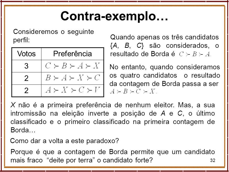 32 Consideremos o seguinte perfil: Contra-exemplo… VotosPreferência 3 2 2 Quando apenas os três candidatos {A, B, C} são considerados, o resultado de