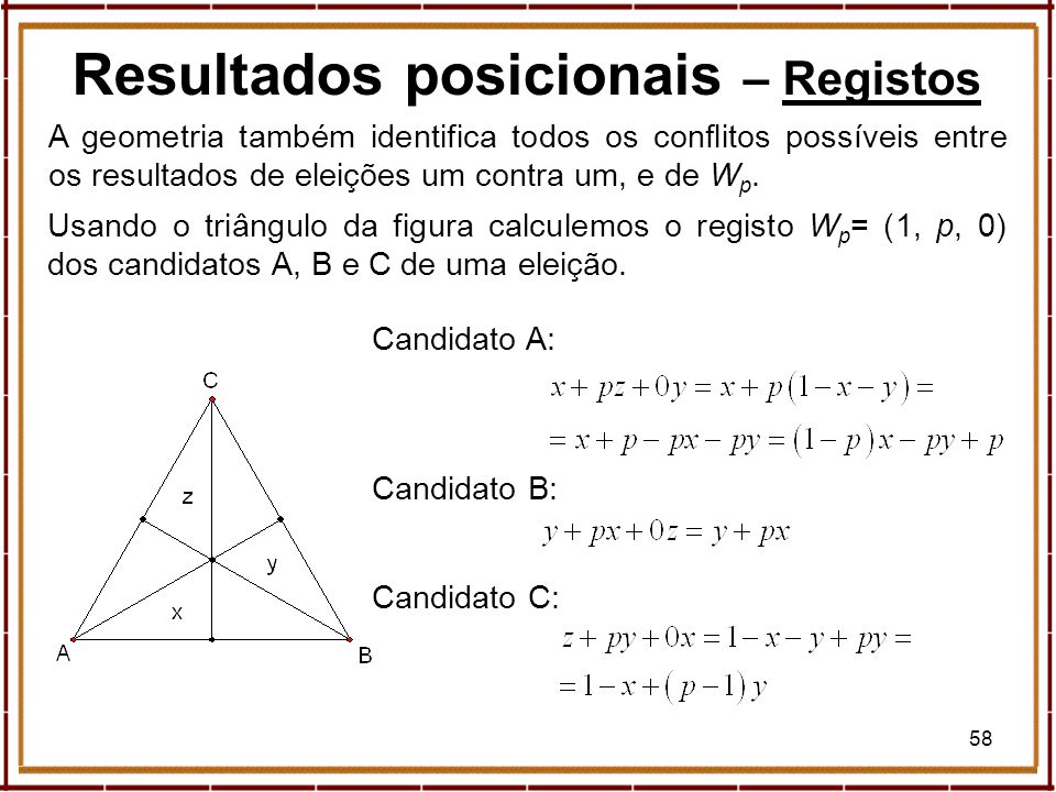 58 Resultados posicionais – RegistosRegistos A geometria também identifica todos os conflitos possíveis entre os resultados de eleições um contra um,