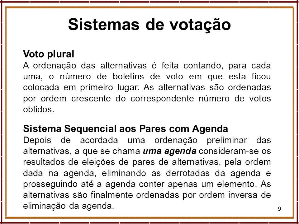 10 Sistemas de votação Expresso, suplemento Economia Sábado, 11 de Maio de 2002 Sistema de Hare Elimina(m)-se, em eleições sucessivas, a(s) alternativa(s) com o menor número de primeiros lugares, sendo as alternativas ordenadas por ordem inversa de eliminação.