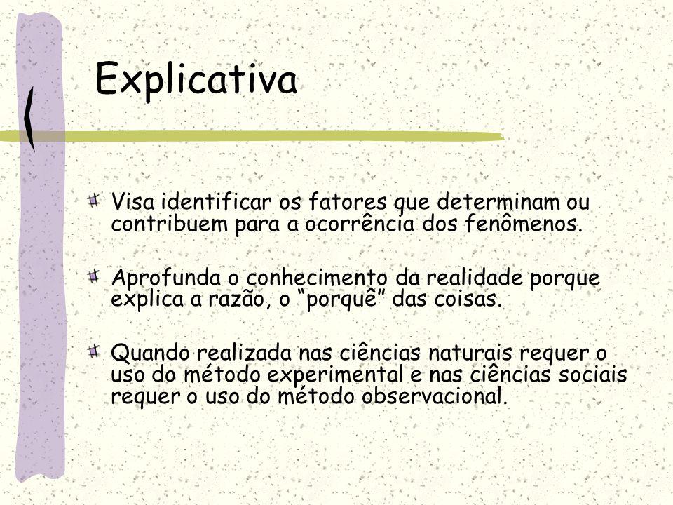 Descritiva Visa descrever as características de determinada população ou fenômeno ou o estabelecimento de relações entre variáveis. Envolvem o uso de