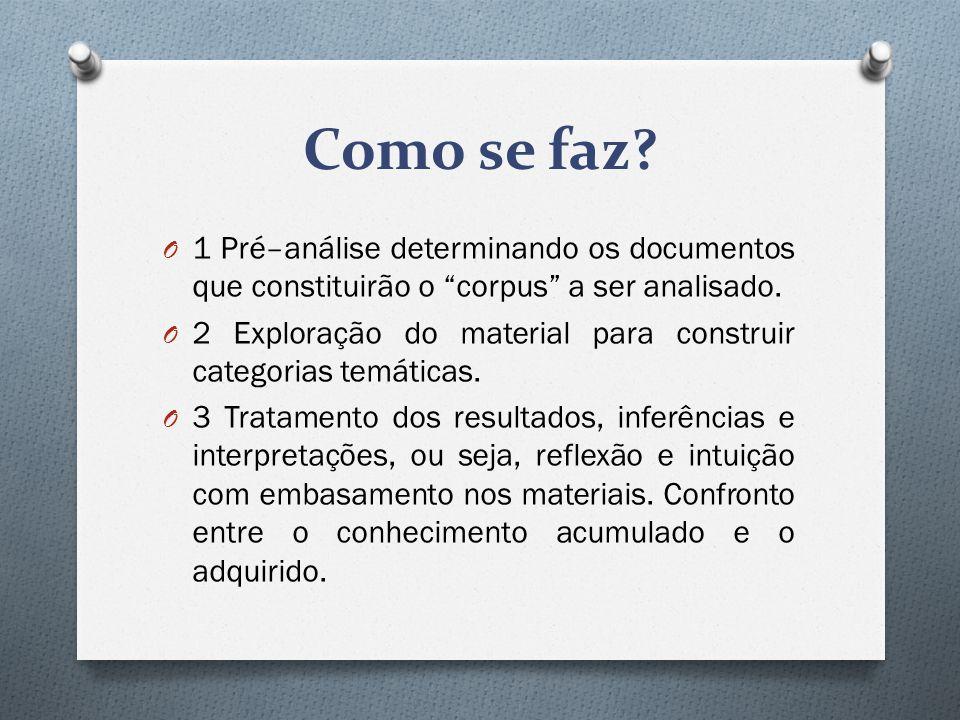 """Como se faz? O 1 Pré–análise determinando os documentos que constituirão o """"corpus"""" a ser analisado. O 2 Exploração do material para construir categor"""