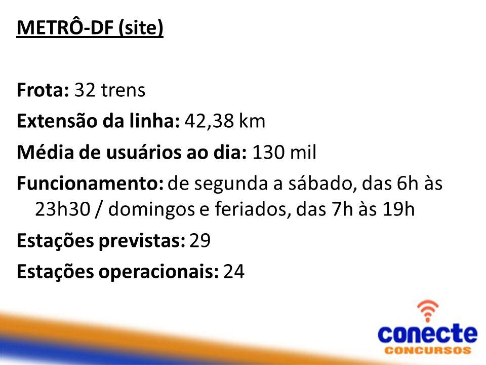 METRÔ-DF (site) Frota: 32 trens Extensão da linha: 42,38 km Média de usuários ao dia: 130 mil Funcionamento: de segunda a sábado, das 6h às 23h30 / do
