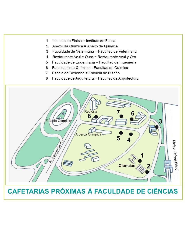 1Instituto de Física = Instituto de Física 2Anexo da Química = Anexo de Química 3Faculdade de Veterinária = Facultad de Veterinaria 4Restaurante Azul