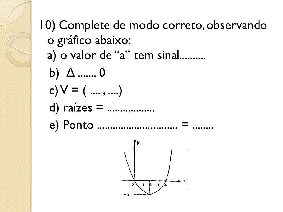 "10) Complete de modo correto, observando o gráfico abaixo: a) o valor de ""a"" tem sinal.......... b) Δ....... 0 c) V = (....,....) d) raízes =........."