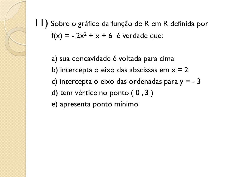 11) Sobre o gráfico da função de R em R definida por f(x) = - 2x 2 + x + 6 é verdade que: a) sua concavidade é voltada para cima b) intercepta o eixo