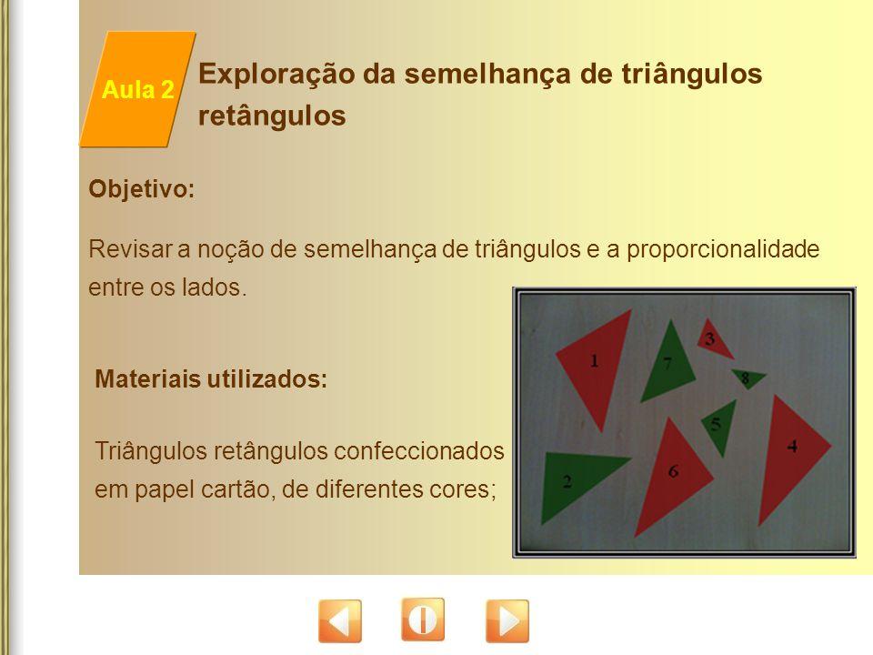 Materiais utilizados: Triângulos retângulos confeccionados em papel cartão, de diferentes cores; Objetivo: Revisar a noção de semelhança de triângulos