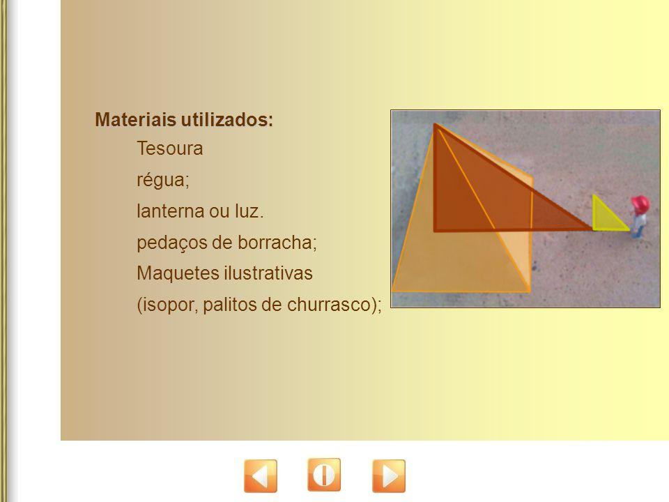 Materiais utilizados: Tesoura régua; lanterna ou luz. pedaços de borracha; Maquetes ilustrativas (isopor, palitos de churrasco);