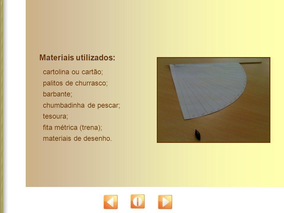 Materiais utilizados: cartolina ou cartão; palitos de churrasco; barbante; chumbadinha de pescar; tesoura; fita métrica (trena); materiais de desenho.