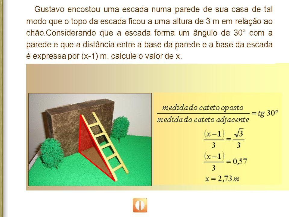 Gustavo encostou uma escada numa parede de sua casa de tal modo que o topo da escada ficou a uma altura de 3 m em relação ao chão.Considerando que a e