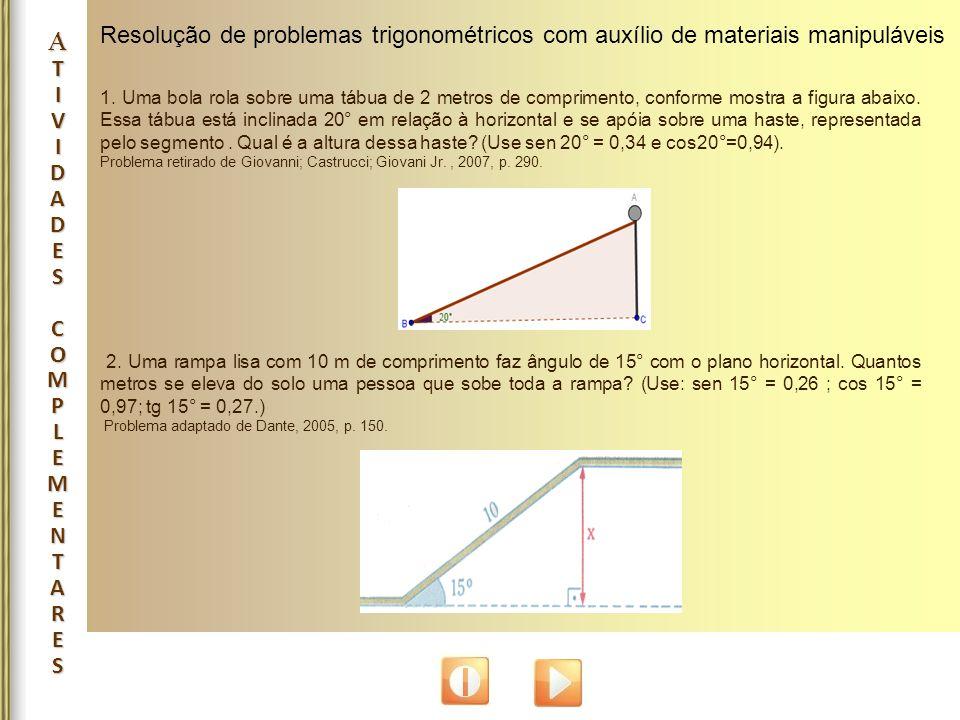 Resolução de problemas trigonométricos com auxílio de materiais manipuláveis 1. Uma bola rola sobre uma tábua de 2 metros de comprimento, conforme mos