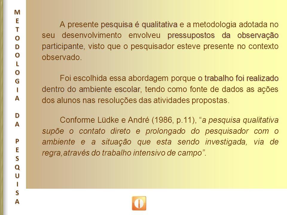 METODOLOGIADAPESQUISAMETODOLOGIADAPESQUISAMETODOLOGIADAPESQUISAMETODOLOGIADAPESQUISA pesquisa é qualitativa pressupostos da observação participante A