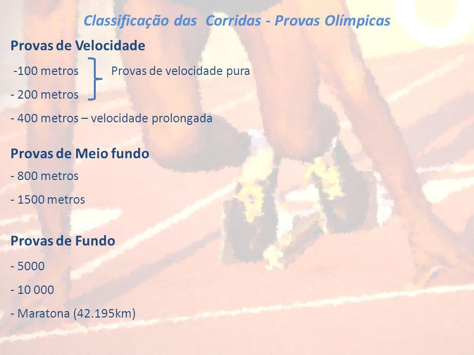 Classificação das Corridas - Provas Olímpicas Provas de Velocidade -100 metros Provas de velocidade pura - 200 metros - 400 metros – velocidade prolon