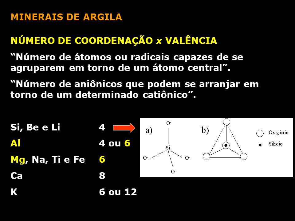 """MINERAIS DE ARGILA NÚMERO DE COORDENAÇÃO x VALÊNCIA """"Número de átomos ou radicais capazes de se agruparem em torno de um átomo central"""". """"Número de an"""