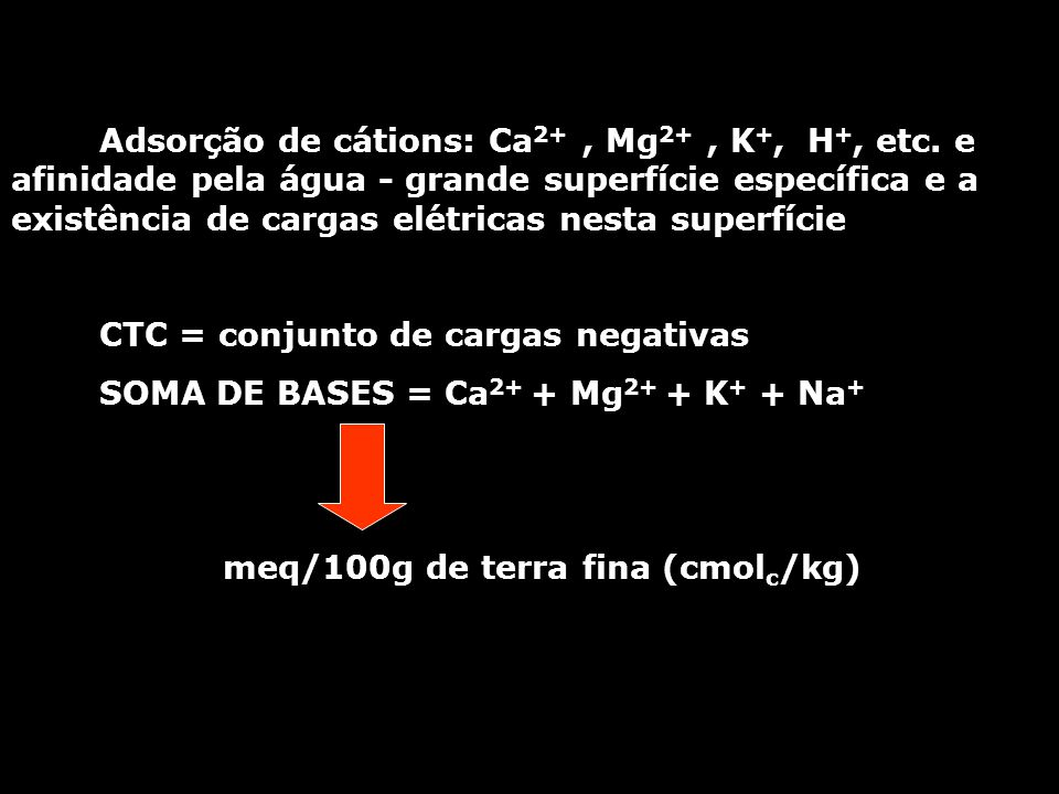 Adsorção de cátions: Ca 2+, Mg 2+, K +, H +, etc.