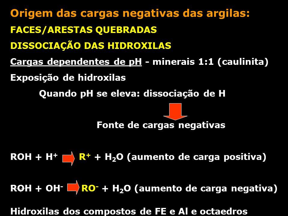 Origem das cargas negativas das argilas: FACES/ARESTAS QUEBRADAS DISSOCIAÇÃO DAS HIDROXILAS Cargas dependentes de pH - minerais 1:1 (caulinita) Exposi