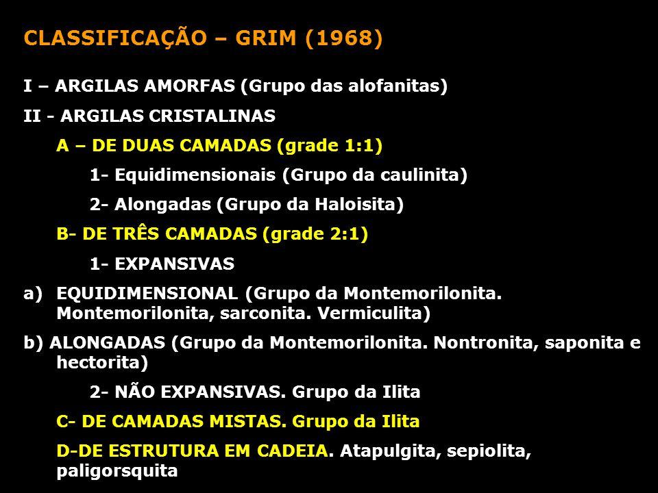 CLASSIFICAÇÃO – GRIM (1968) I – ARGILAS AMORFAS (Grupo das alofanitas) II - ARGILAS CRISTALINAS A – DE DUAS CAMADAS (grade 1:1) 1- Equidimensionais (G