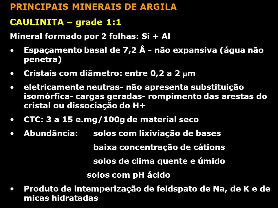 PRINCIPAIS MINERAIS DE ARGILA CAULINITA – grade 1:1 Mineral formado por 2 folhas: Si + Al Espaçamento basal de 7,2 Å - não expansiva (água não penetra