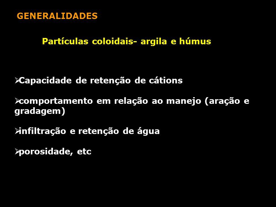 GENERALIDADES Partículas coloidais- argila e húmus  Capacidade de retenção de cátions  comportamento em relação ao manejo (aração e gradagem)  infi