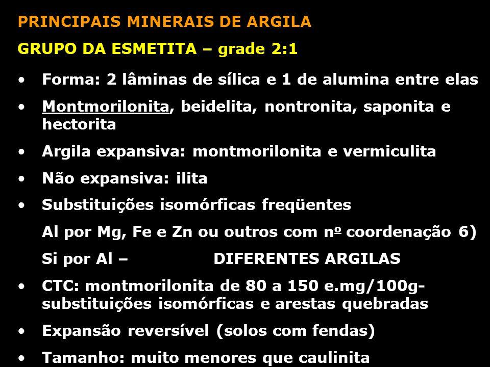 PRINCIPAIS MINERAIS DE ARGILA GRUPO DA ESMETITA – grade 2:1 Forma: 2 lâminas de sílica e 1 de alumina entre elas Montmorilonita, beidelita, nontronita