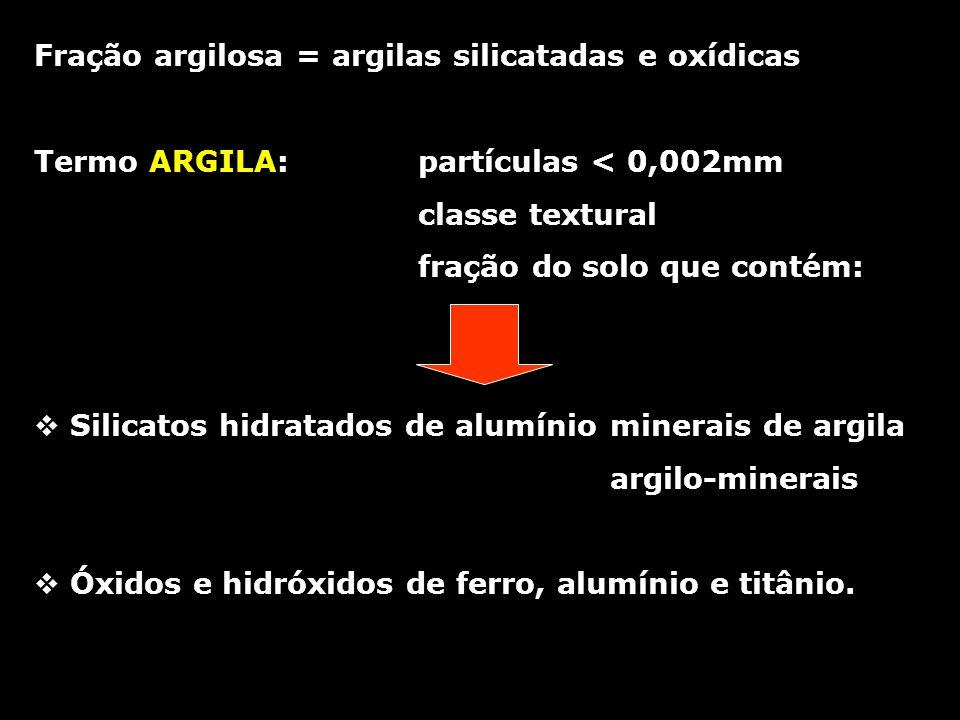 Origem das cargas negativas das argilas: FACES/ARESTAS QUEBRADAS DISSOCIAÇÃO DAS HIDROXILAS Cargas dependentes de pH - minerais 1:1 (caulinita) Exposição de hidroxilas Quando pH se eleva: dissociação de H Fonte de cargas negativas ROH + H + R + + H 2 O (aumento de carga positiva) ROH + OH - RO - + H 2 O (aumento de carga negativa) Hidroxilas dos compostos de FE e Al e octaedros