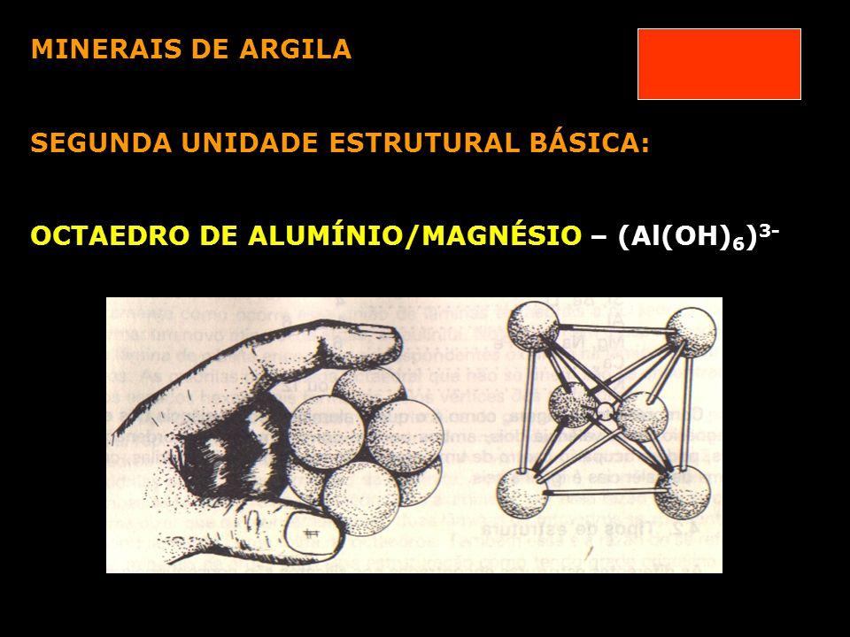 PRINCIPAIS MINERAIS DE ARGILA CAULINITA – grade 1:1 Mineral formado por 2 folhas: Si + Al Espaçamento basal de 7,2 Å - não expansiva (água não penetra) Cristais com diâmetro: entre 0,2 a 2 m eletricamente neutras- não apresenta substituição isomórfica- cargas geradas- rompimento das arestas do cristal ou dissociação do H+ CTC: 3 a 15 e.mg/100g de material seco Abundância:solos com lixiviação de bases baixa concentração de cátions solos de clima quente e úmido solos com pH ácido Produto de intemperização de feldspato de Na, de K e de micas hidratadas