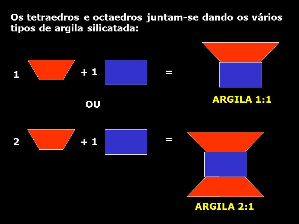 Os tetraedros e octaedros juntam-se dando os vários tipos de argila silicatada: 1 + 1 2 = = ARGILA 1:1 ARGILA 2:1 OU