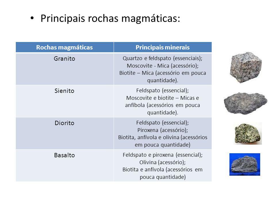 Principais rochas magmáticas: Rochas magmáticasPrincipais minerais Granito Quartzo e feldspato (essenciais); Moscovite - Mica (acessório); Biotite – M