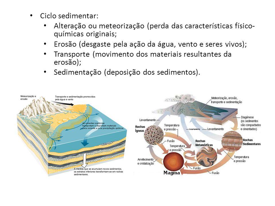 Ciclo sedimentar: Alteração ou meteorização (perda das características físico- químicas originais; Erosão (desgaste pela ação da água, vento e seres v