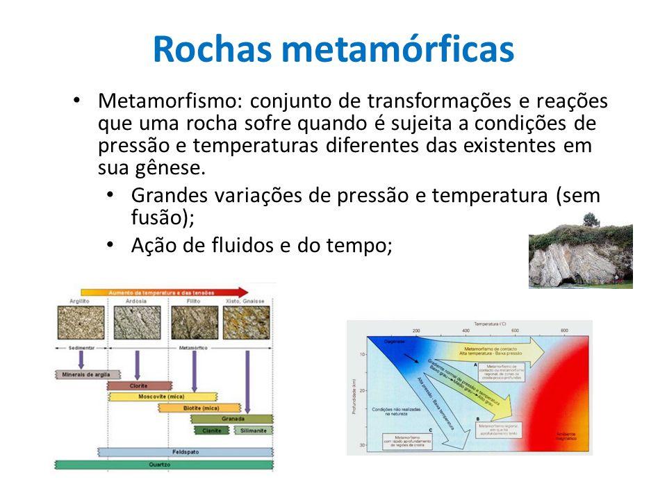 Rochas metamórficas Metamorfismo: conjunto de transformações e reações que uma rocha sofre quando é sujeita a condições de pressão e temperaturas dife