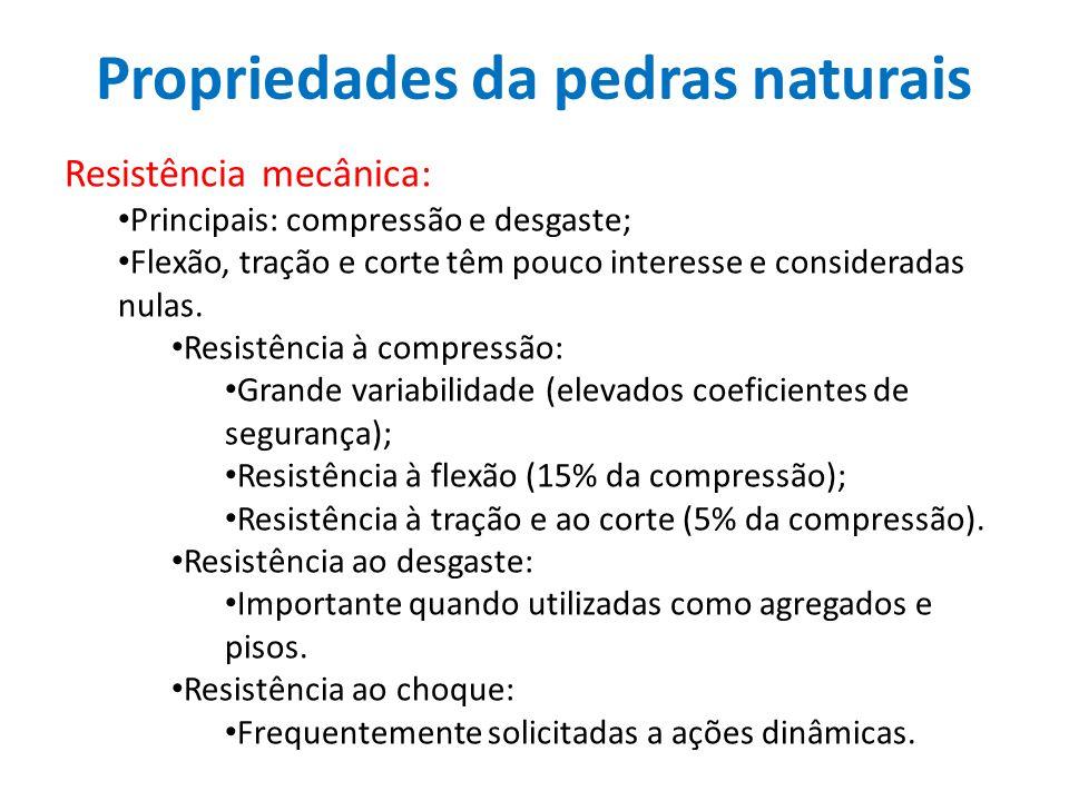 Propriedades da pedras naturais Resistência mecânica: Principais: compressão e desgaste; Flexão, tração e corte têm pouco interesse e consideradas nul