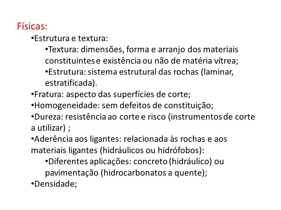 Físicas: Estrutura e textura: Textura: dimensões, forma e arranjo dos materiais constituintes e existência ou não de matéria vítrea; Estrutura: sistem