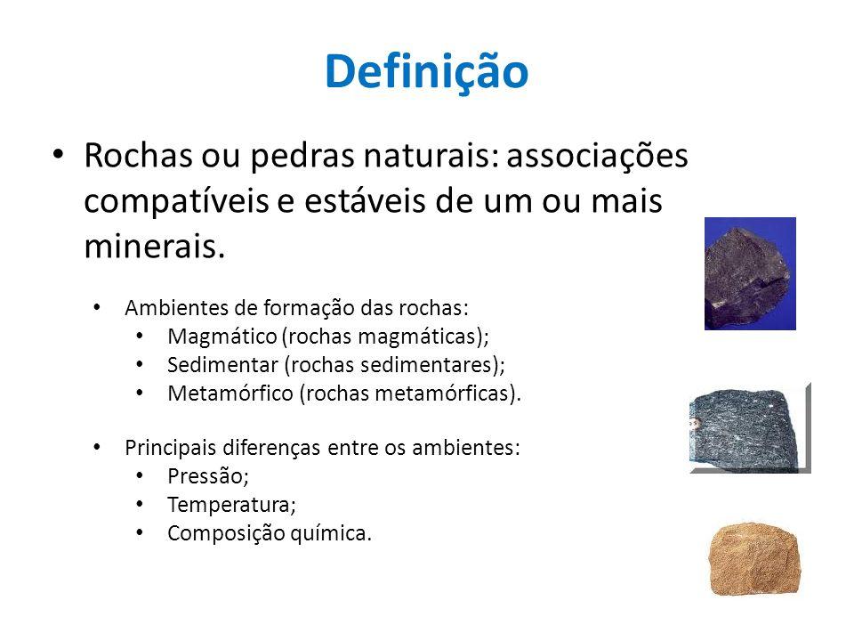 Definição Rochas ou pedras naturais: associações compatíveis e estáveis de um ou mais minerais. Ambientes de formação das rochas: Magmático (rochas ma