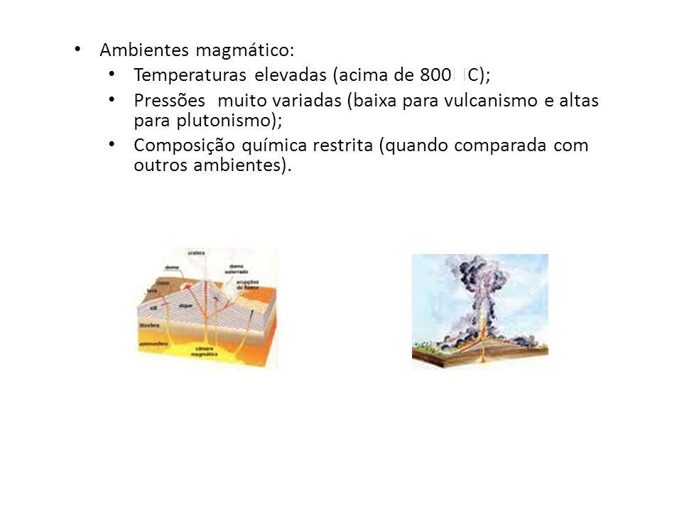 Ambientes magmático: Temperaturas elevadas (acima de 800  C); Pressões muito variadas (baixa para vulcanismo e altas para plutonismo); Composição quí