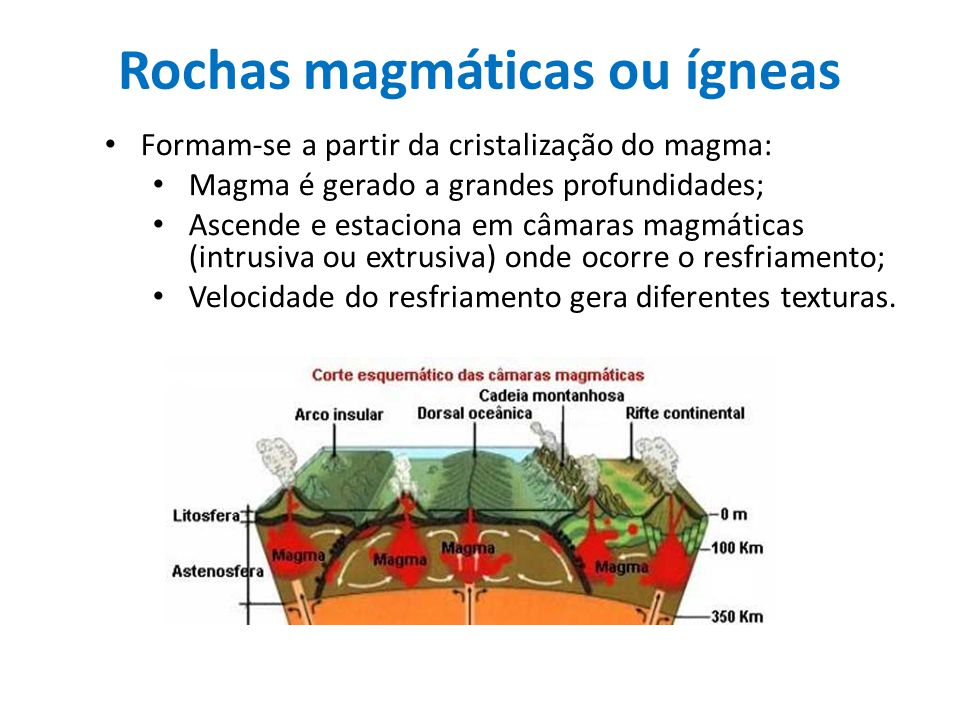Rochas magmáticas ou ígneas Formam-se a partir da cristalização do magma: Magma é gerado a grandes profundidades; Ascende e estaciona em câmaras magmá