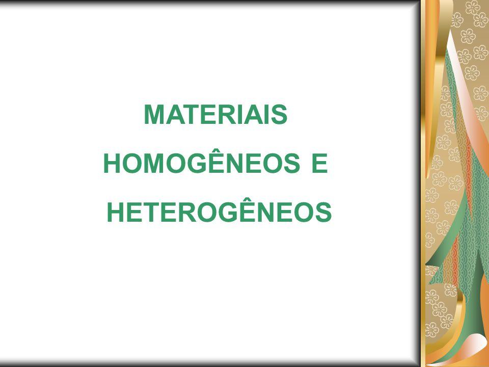 1.MATERIAL HOMOGÊNEO: I - APRESENTA ASPECTO UNIFORME MESMO AO ULTRAMICROSCÓPIO.