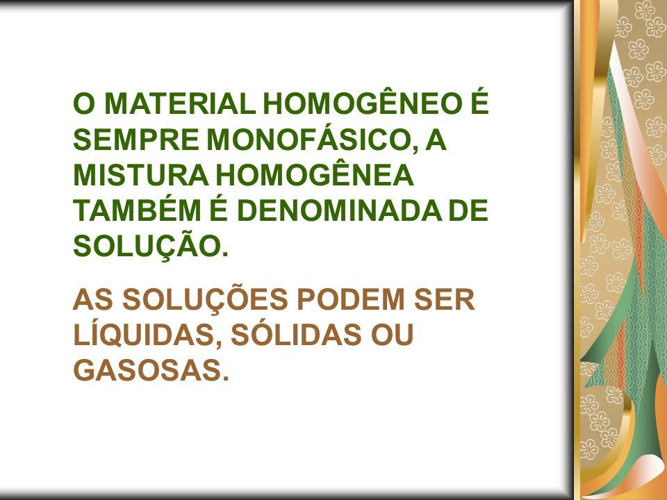 O MATERIAL HOMOGÊNEO É SEMPRE MONOFÁSICO, A MISTURA HOMOGÊNEA TAMBÉM É DENOMINADA DE SOLUÇÃO. AS SOLUÇÕES PODEM SER LÍQUIDAS, SÓLIDAS OU GASOSAS.