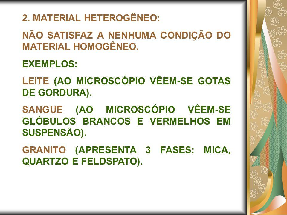 2. MATERIAL HETEROGÊNEO: NÃO SATISFAZ A NENHUMA CONDIÇÃO DO MATERIAL HOMOGÊNEO. EXEMPLOS: LEITE (AO MICROSCÓPIO VÊEM-SE GOTAS DE GORDURA). SANGUE (AO