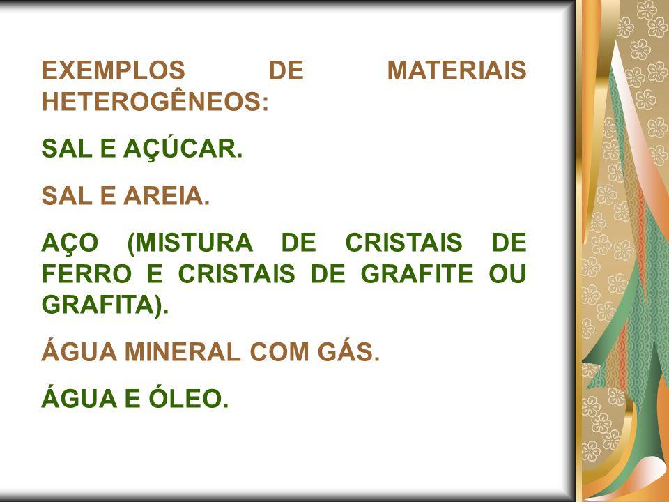 EXEMPLOS DE MATERIAIS HETEROGÊNEOS: SAL E AÇÚCAR. SAL E AREIA. AÇO (MISTURA DE CRISTAIS DE FERRO E CRISTAIS DE GRAFITE OU GRAFITA). ÁGUA MINERAL COM G