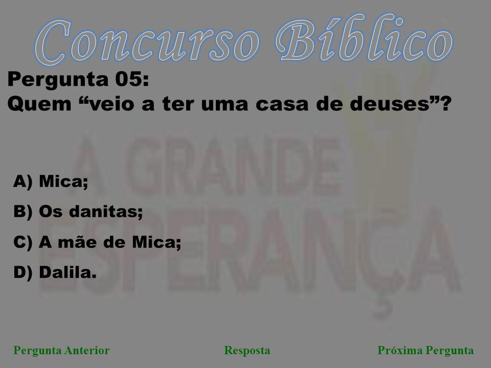 """RespostaPróxima PerguntaPergunta Anterior Pergunta 05: Quem """"veio a ter uma casa de deuses""""? A) Mica; B) Os danitas; C) A mãe de Mica; D) Dalila."""