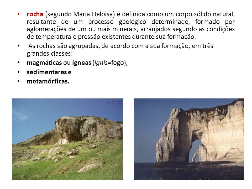 rocha (segundo Maria Heloisa) é definida como um corpo sólido natural, resultante de um processo geológico determinado, formado por aglomerações de um