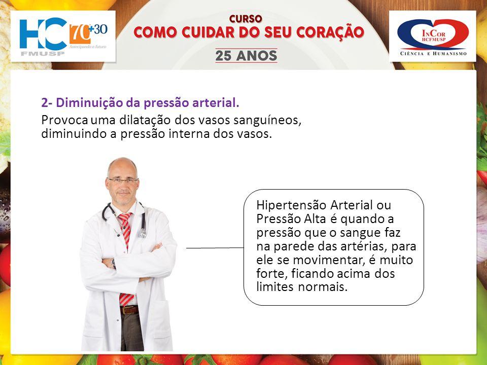 2- Diminuição da pressão arterial.
