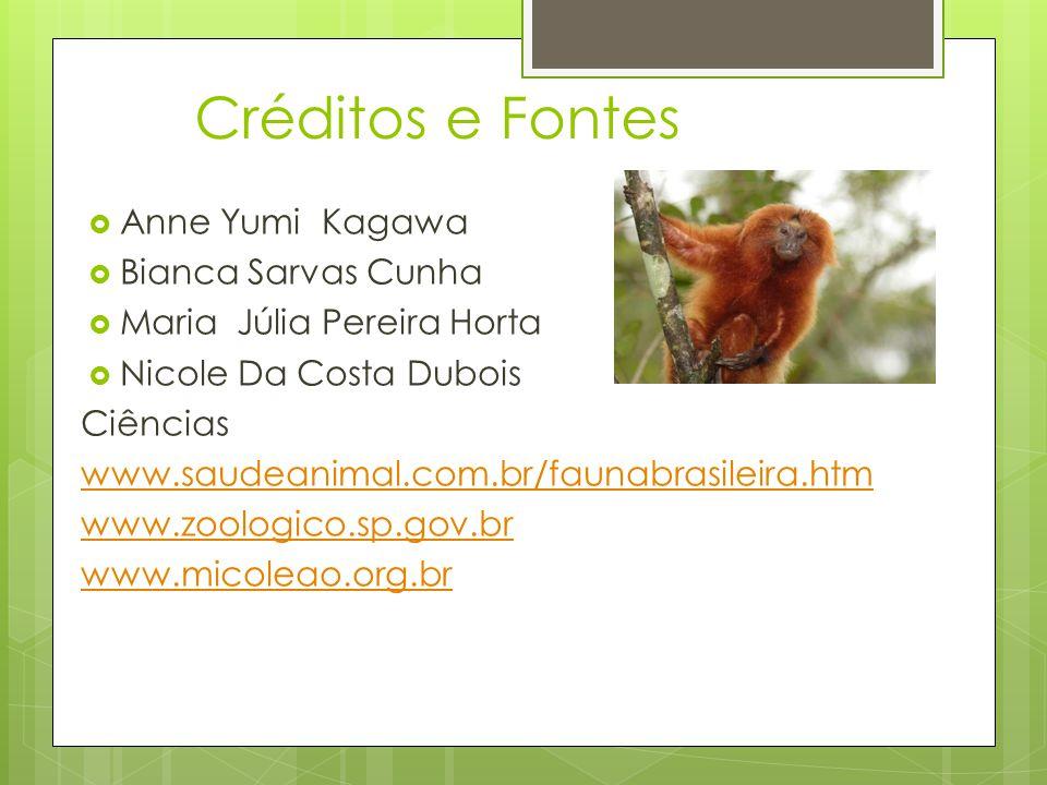 Créditos e Fontes  Anne Yumi Kagawa  Bianca Sarvas Cunha  Maria Júlia Pereira Horta  Nicole Da Costa Dubois Ciências www.saudeanimal.com.br/faunab