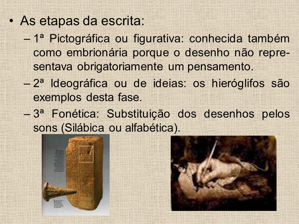 As etapas da escrita: –1ª Pictográfica ou figurativa: conhecida também como embrionária porque o desenho não repre- sentava obrigatoriamente um pensam