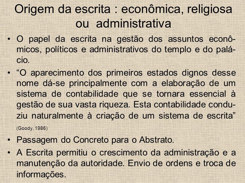 Origem da escrita : econômica, religiosa ou administrativa O papel da escrita na gestão dos assuntos econô- micos, políticos e administrativos do temp